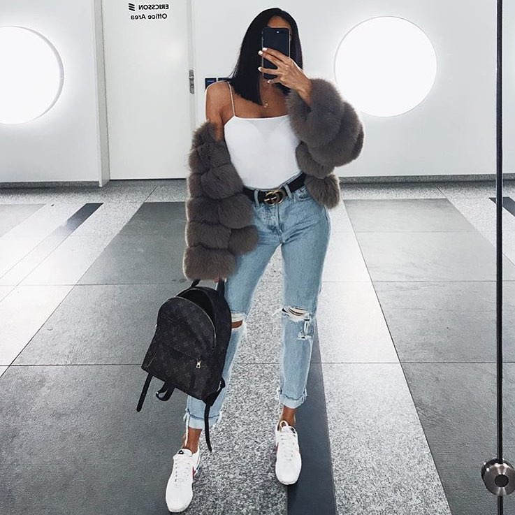 Fur Jacket In Grey With Spaghetti Strap White Bodysuit And High Rise Jeans For Fall 2019
