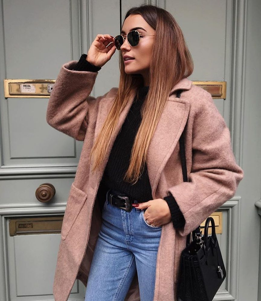 Fall Essentials: Blush Wool Coat And Black Sweater Tucked In Wash Blue Jeans 2020