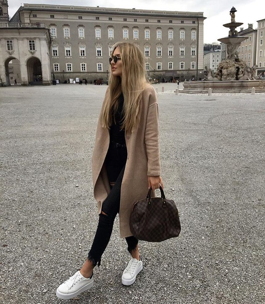 Beige Camel Long Coat With All Black Outfit Completed With White Sneakers 2020