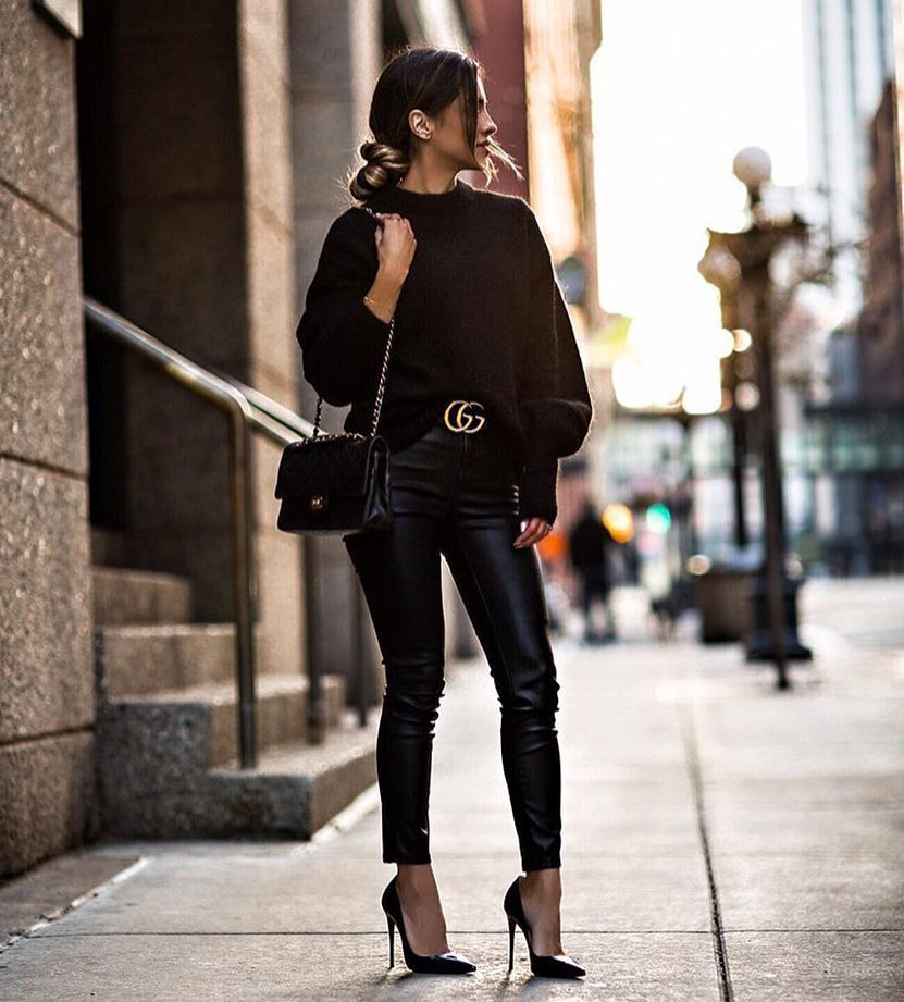 All Black Outfit Idea For Fall: Sweater, Leather Pants And Heels 2019