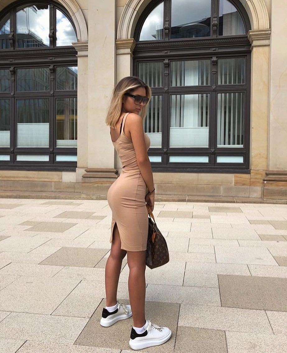 Nude Beige Tight Dress With White