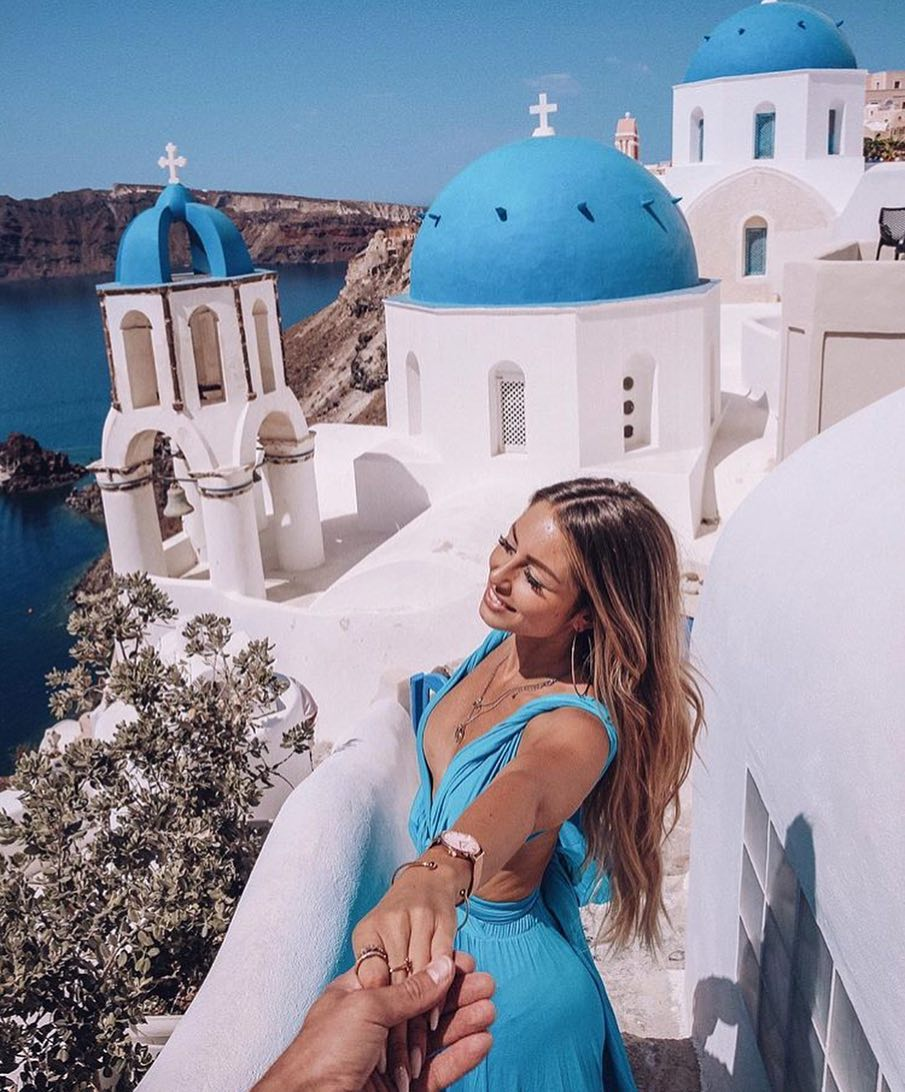 Light Blue Deep V-neck Maxi Dress For Santorini Trip 2020