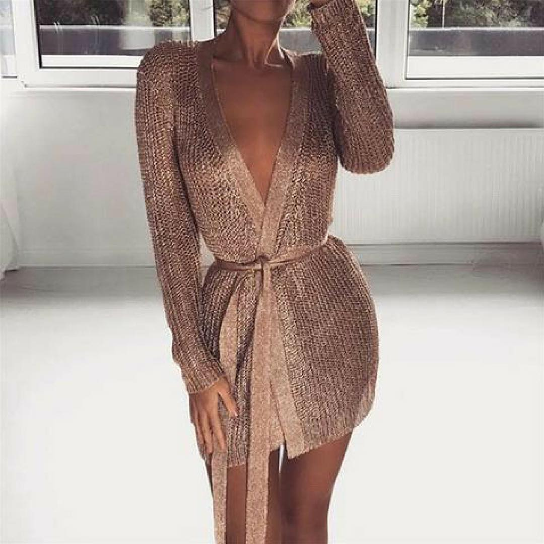 Gold Knit Belted Wrap Cardi Dress For Young Ladies 2020