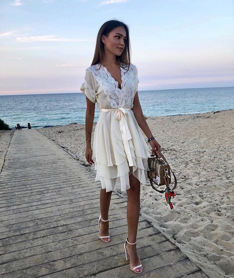 An Ideal White Dress With Lace Inserts For Summer Beach Walks 2020