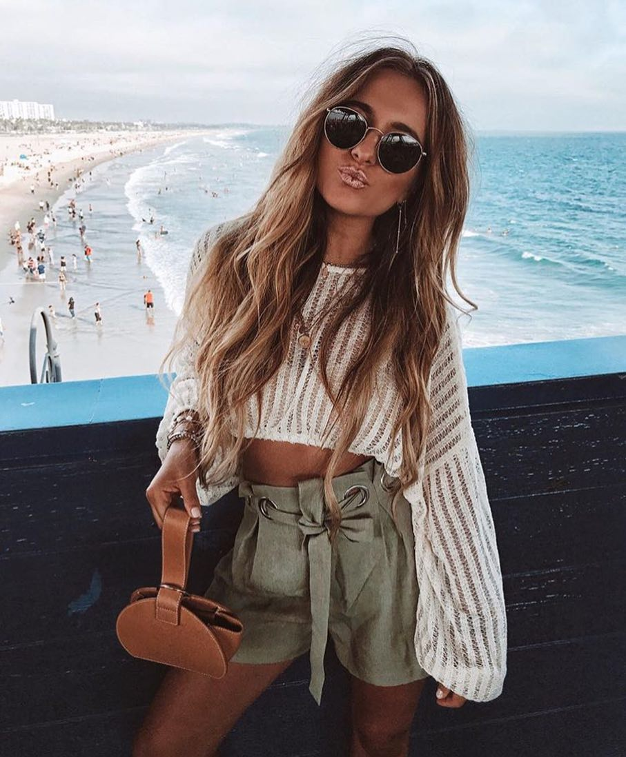 Semi-Sheer White Crop Top And Khaki Green Shorts For Summer Beach Days 2020