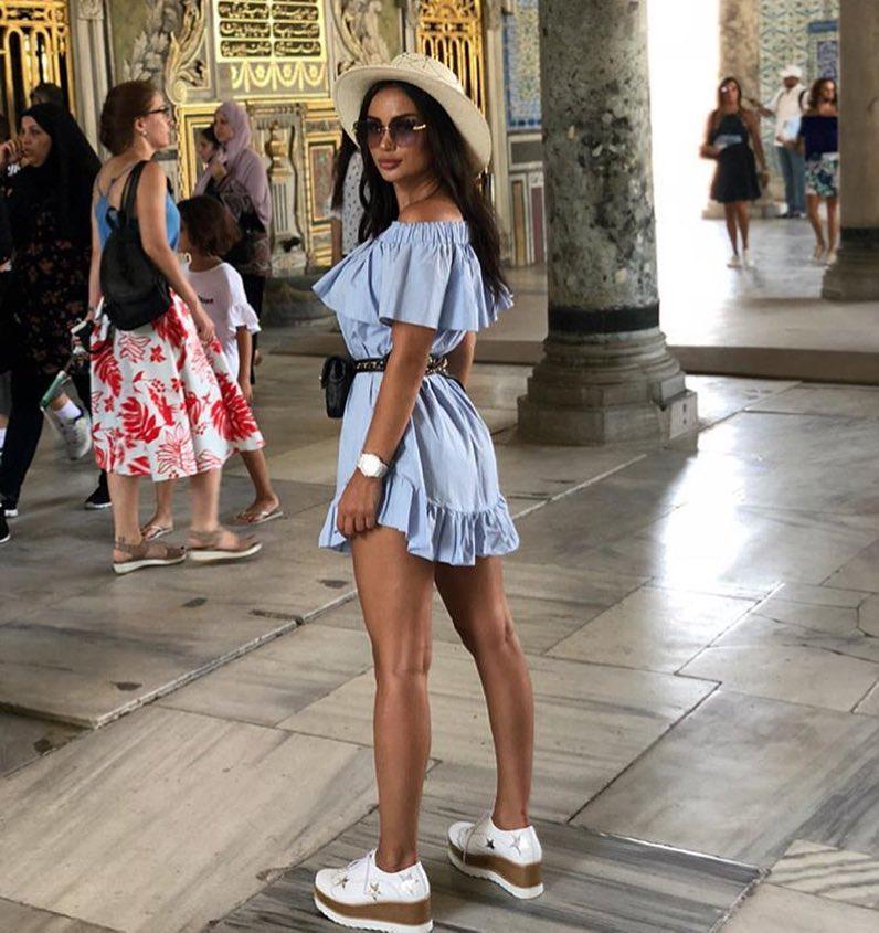 Off Shoulder Sky Blue Dress And Platform Loafers For Summer Vacation 2020