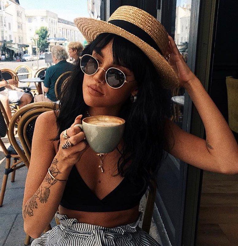 Summer Basics: Brimmed Straw Hat, Black Bandeau Top And Gathered Pinstripe Pants 2019