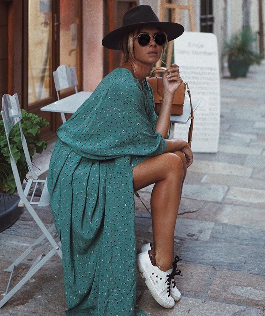 Maxi Turquoise Dress, Wide Brim Hat, Rounded Shades And White Sneakers 2020