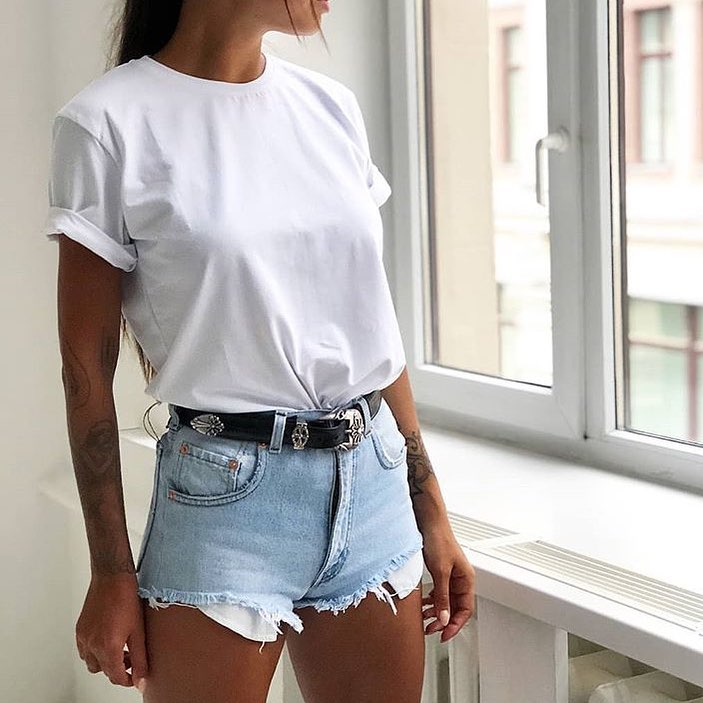 White T-Shirt And Wash Blue Denim Shorts For Summer Casual Day Offs 2020