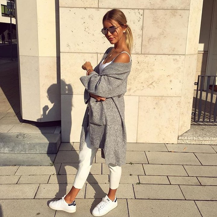 Grey Long Cardigan And White Separates For Summer 2019