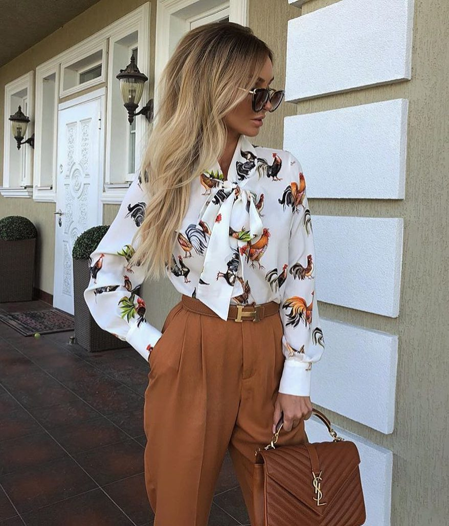 Cock Printed White Blouse And Camel Gathered Pants For Summer Cocktail Parties 2019