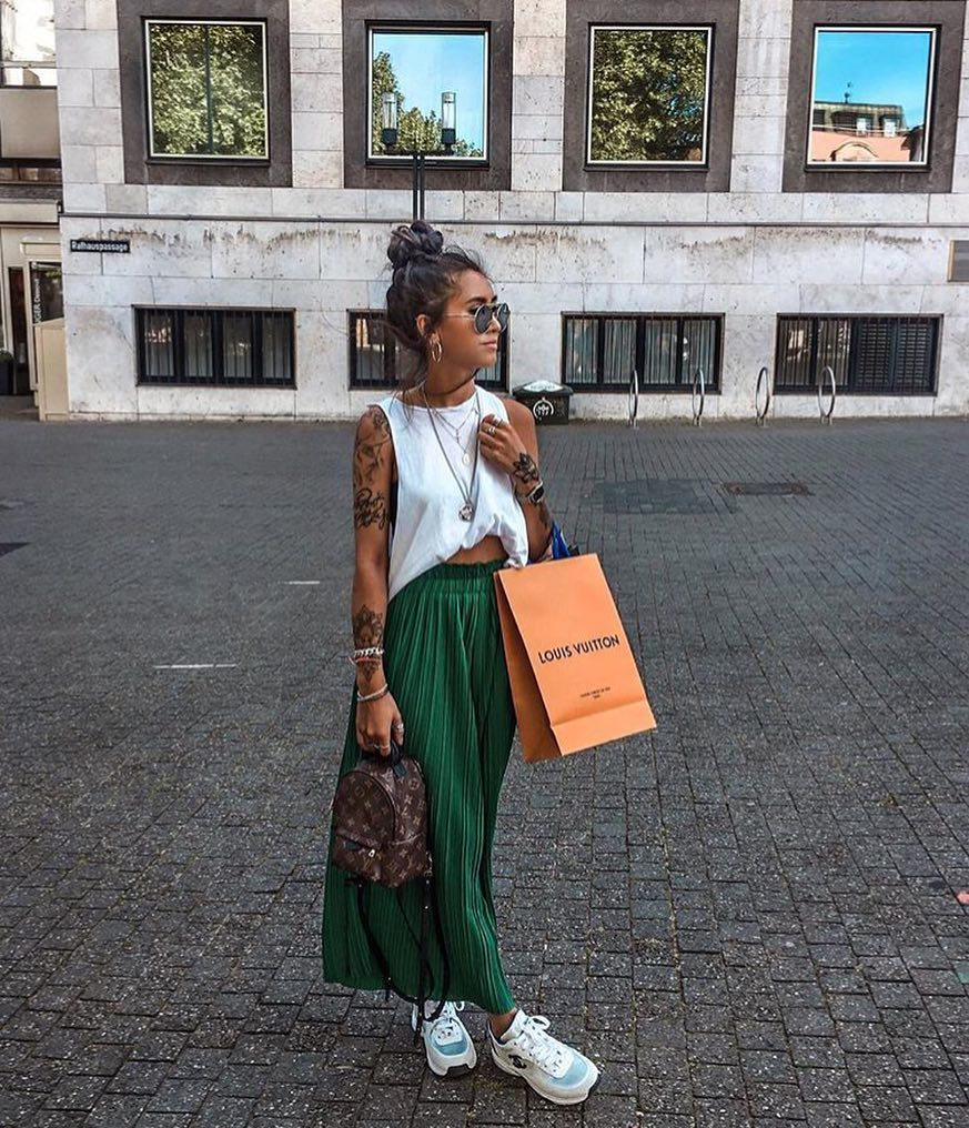 Summer Must haves: Sleeveless White Top And Knife-Pleated Green Maxi Skirt 2021
