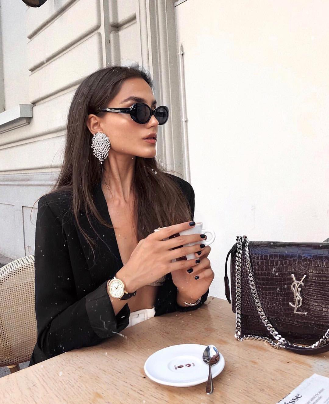 Black Blazer And Retro Inspired Sunglasses With Crystal Statement Earrings 2019
