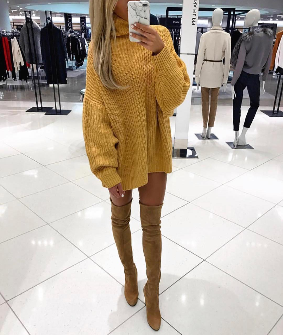 High Neck Mustard-Yellow Sweater Dress In Oversized Fit And Suede OTK Boots 2019