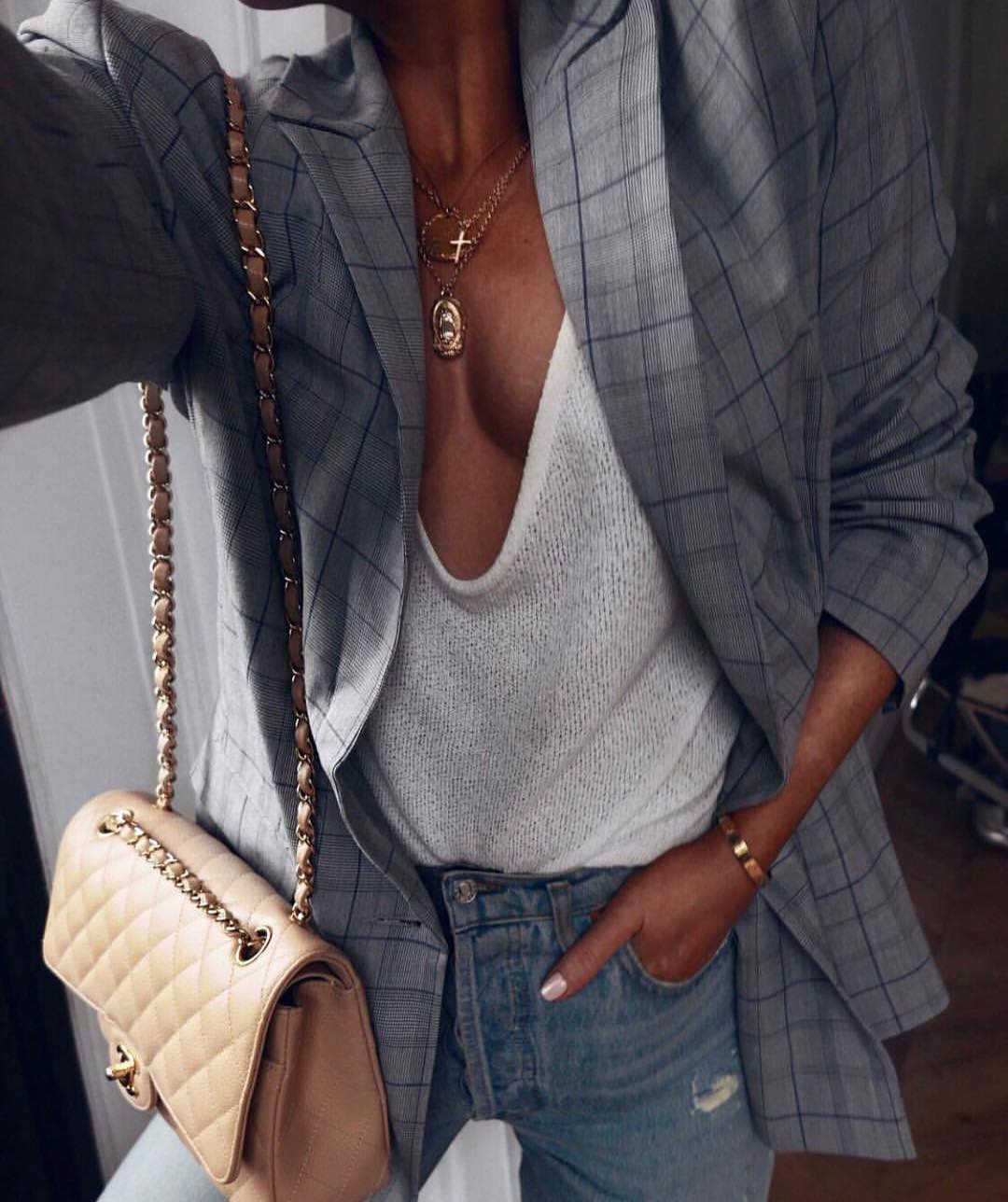 Grey Windowpane Blazer And Slouchy Sweater In White For Spring 2020