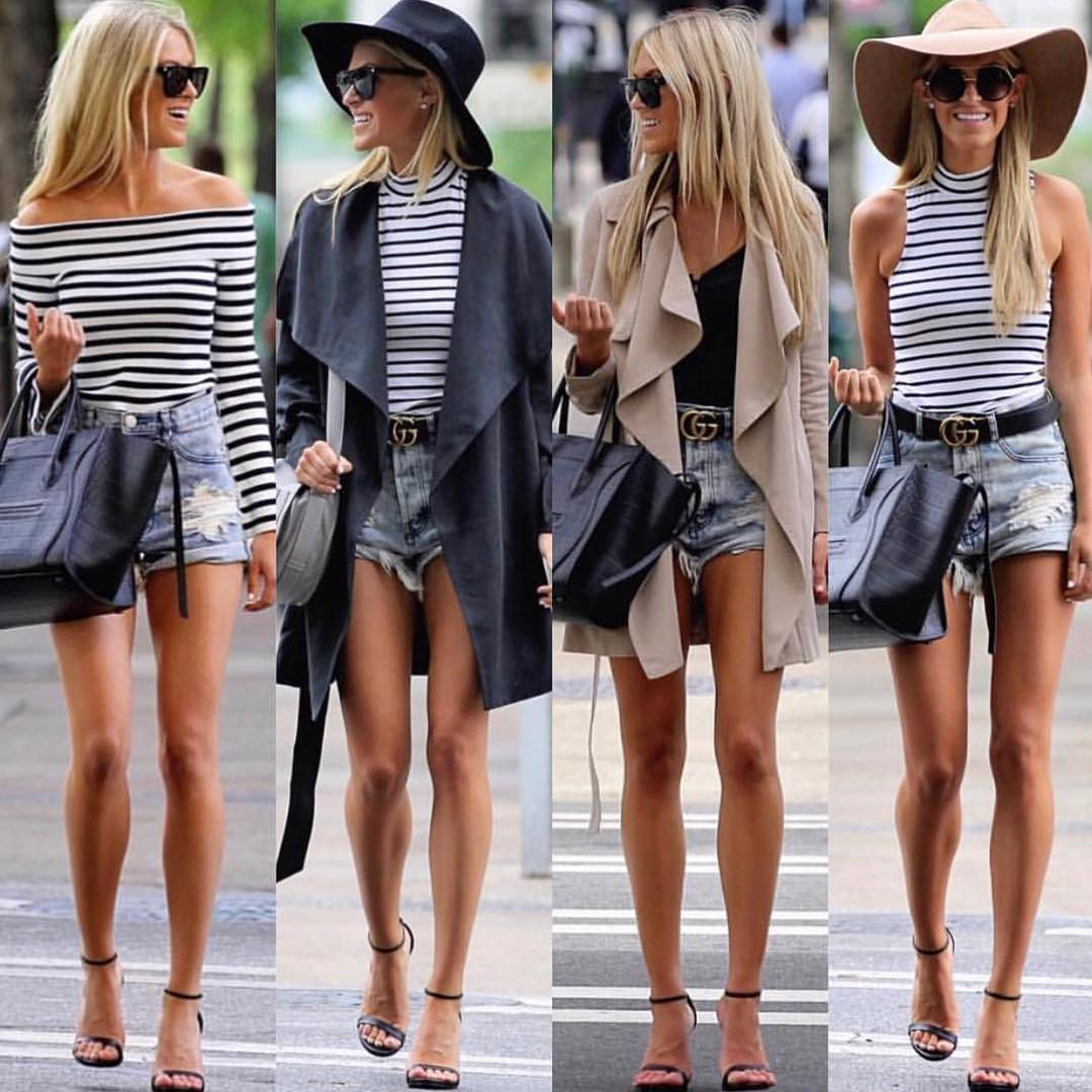 How To Wear Striped Top And Draped Coat This Summer 2019