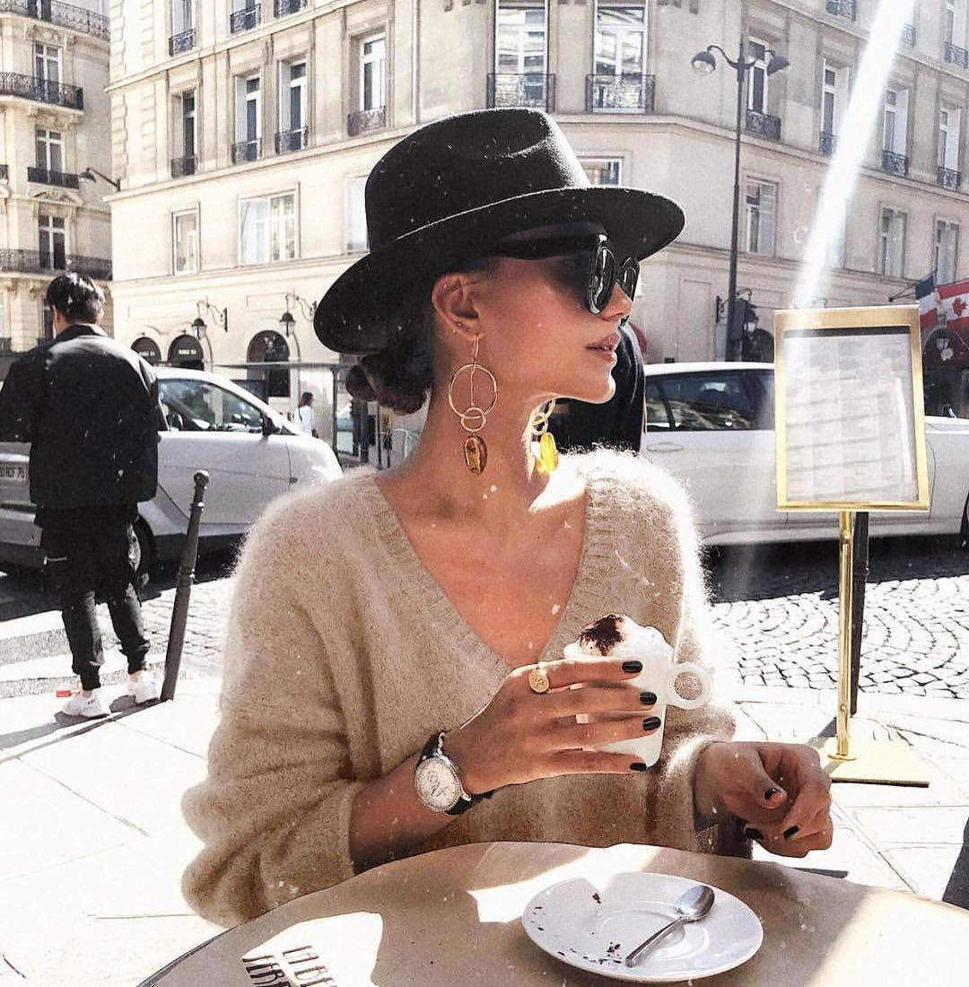 Cashmere Sweater And Black Fedora Hat: Best Look For Street Coffee 2019