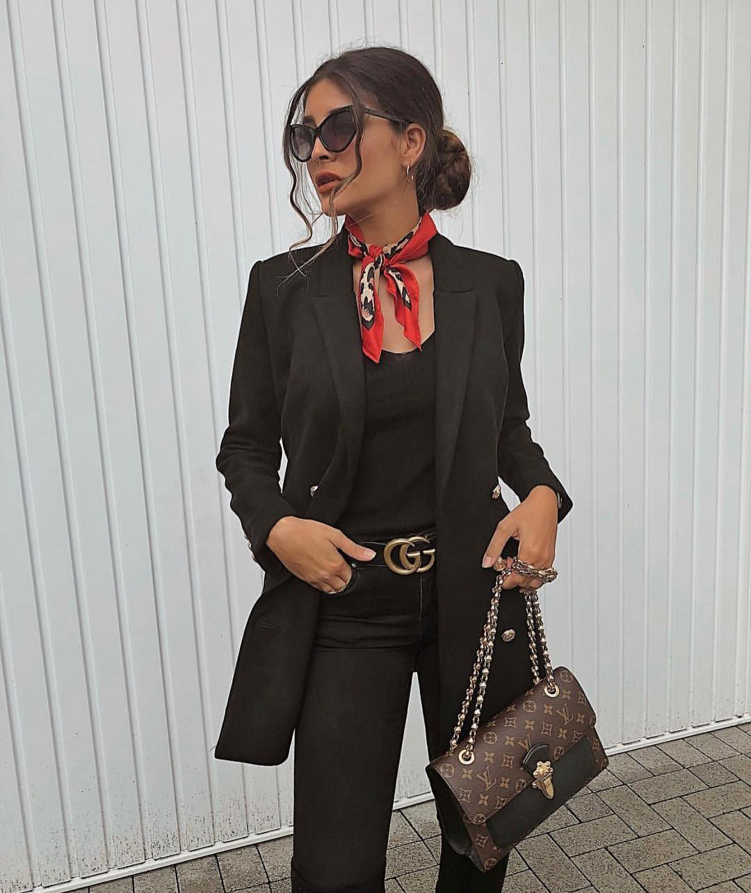 All Black Pantsuit For Spring With A Red Neck-scarf 2019