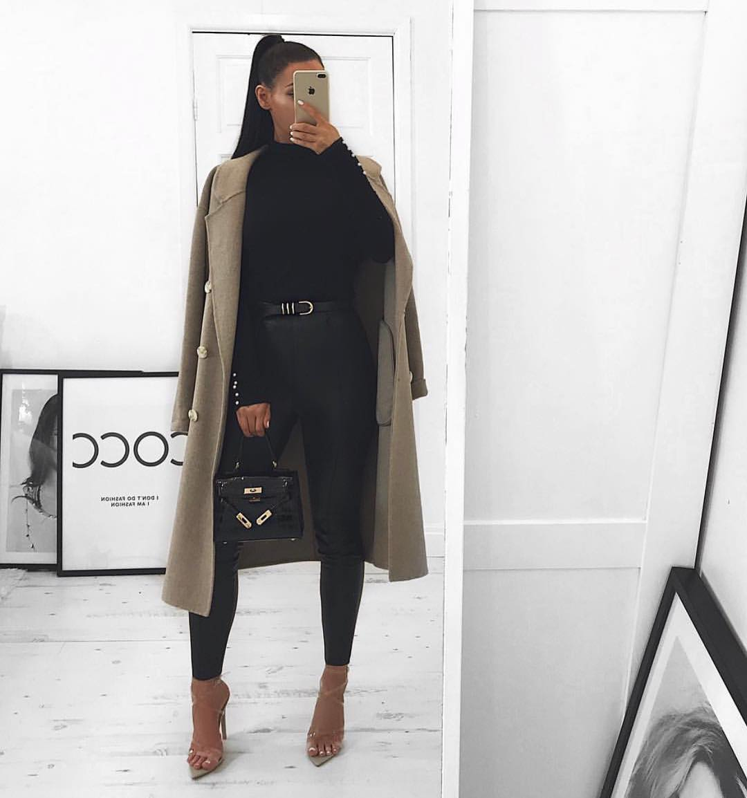 Khaki Camel Coat With Black Sweater And Black Leather Pants For Fall 2019