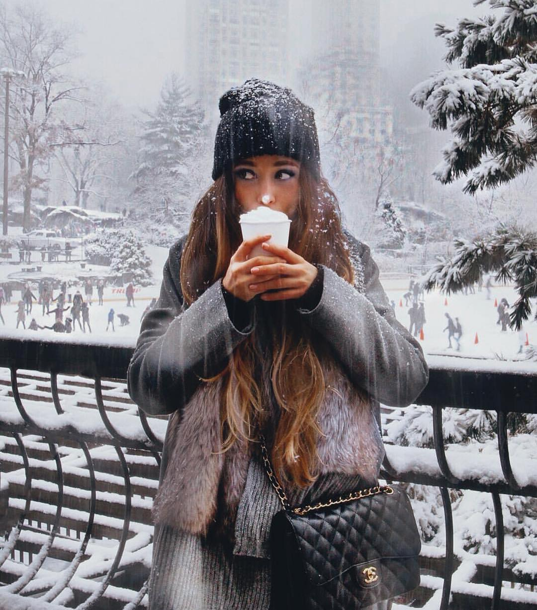 Winter Essentials: Black Beanie, Grey Coat And Grey Sweater Dress 2020