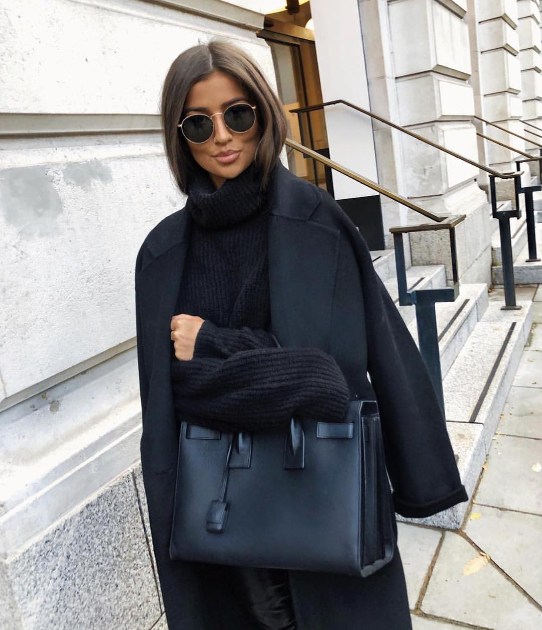 All Black Winter Look: Long Coat, Slouchy Turtleneck Sweater And Skirt 2020